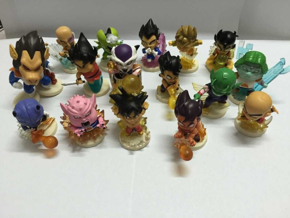 Dragon Ball Figuras Toy Set Goku Super Saiyan Piccolo Vegeta Action Figure Dragon Ball Z Songoku 50mm Bolas De Dragon Ball 16pcs