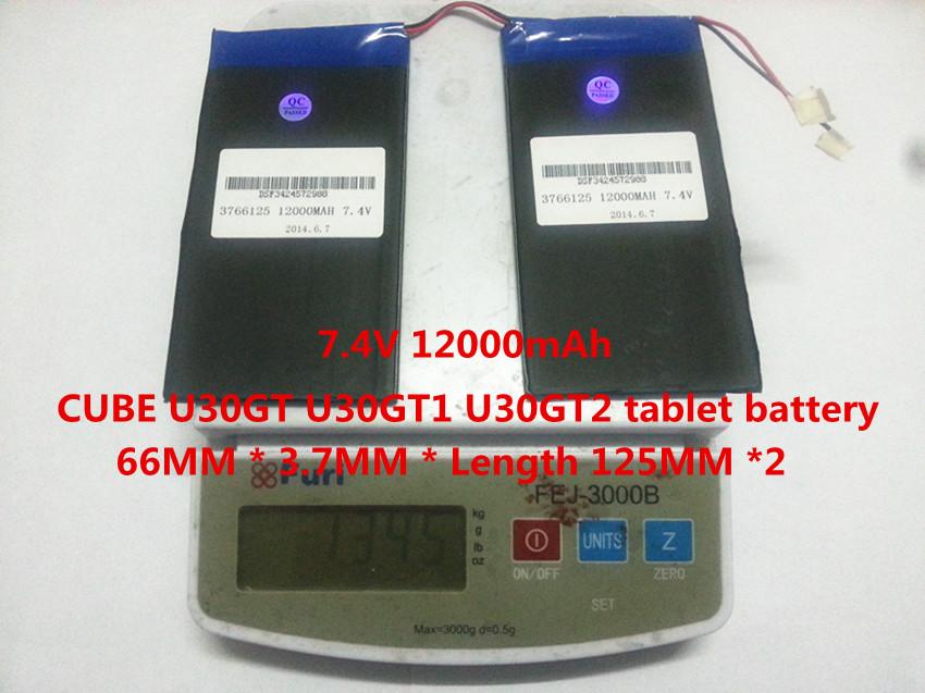 7.4V 12000mAh CUBE U30GT U30GT1 U30GT2 tablet battery plates 66MM * 3.7MM * Length 125MM *2<br><br>Aliexpress