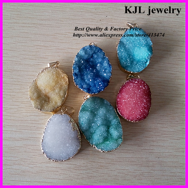 red blue green white yellow natural crystal quartz stone pendant,gold edge chunky druzy gem charm connector pendant - Guangzhou Kejialai Jewelry Co., Ltd. store