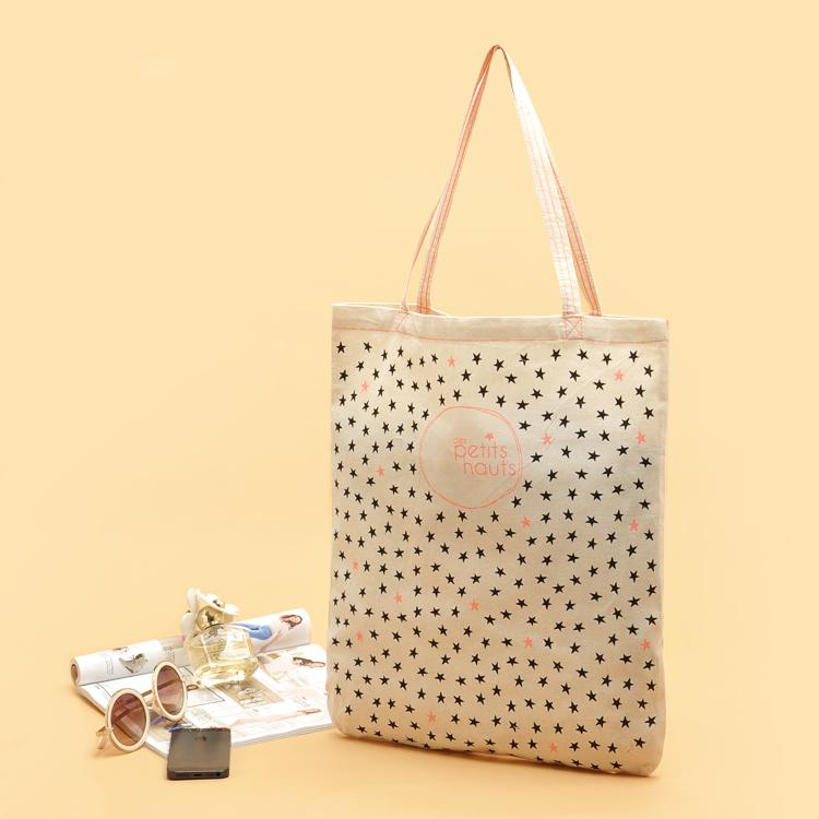 Free Shipping Fashion Cotton Fabric Shopping Bags with Stars Pattern Women Handbags Shoulder Bags Shopping bag(China (Mainland))