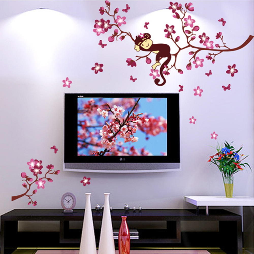 Latest beautiful romantic red flower monkey wall sticker for Red flower wallpaper living room