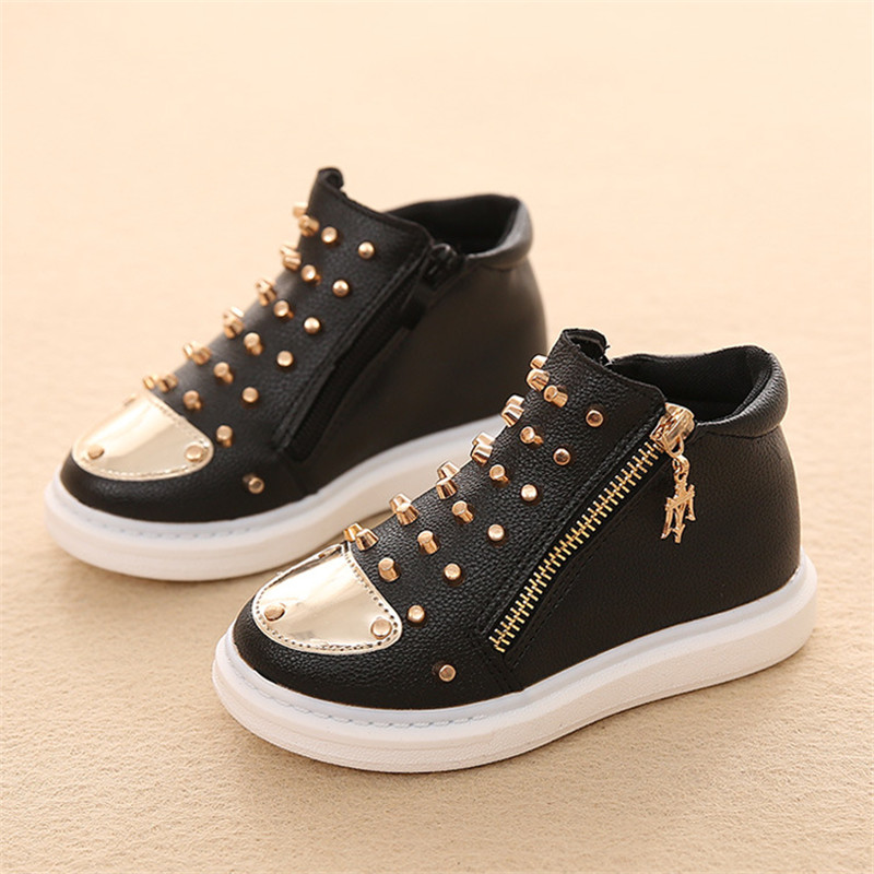 2016 Rivet Sneakers Kids Shoes Leather Boys Spring Autumn Breathable Children Flats Pu Leather Girls Shoes High Tops Black White(China (Mainland))