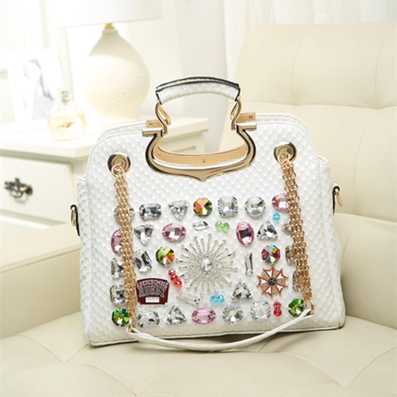 Women leather bags handbags fashion diamond rhinestone bags chain bags women designer handbags high quality messenger bag(China (Mainland))