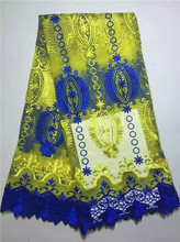 Buy DP12kdesign african embroidered french lace fabric royal blue yellow tulle lace fashion net mesh embroidery cord lace 2016 for $53.00 in AliExpress store