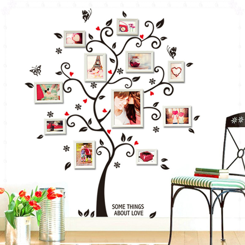 3d diy photo tree pvc wall decals adhesive family wall for Diy family tree wall mural