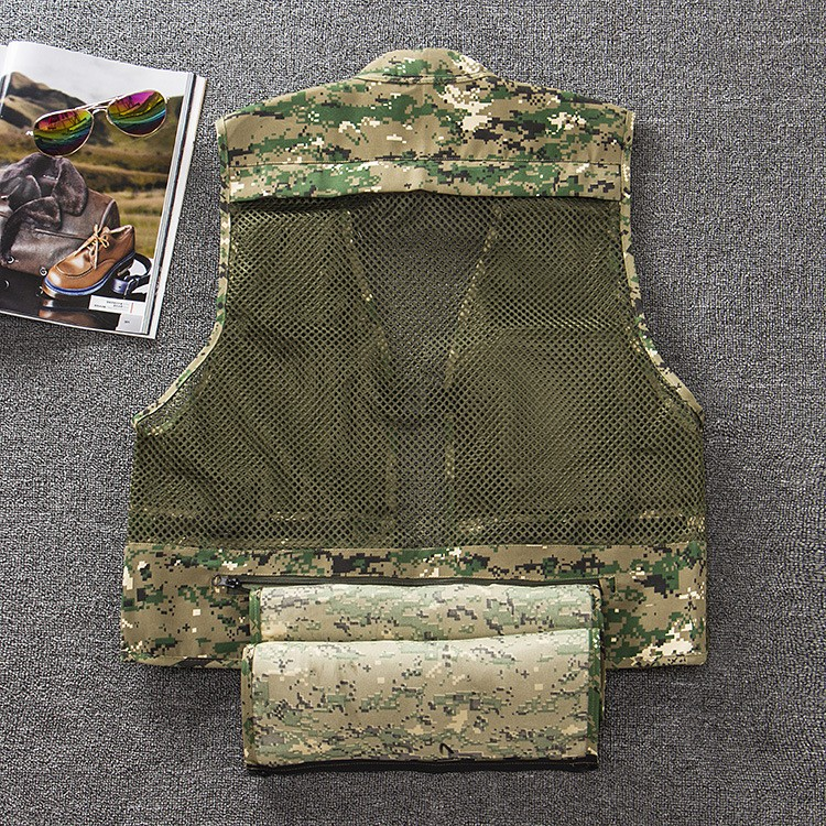 Summer Autumn Men Fishing Vest Multifunctional Quick-Drying Fly Fishing Vest Jacket Loose Outdoor Photography Camouflage Coats