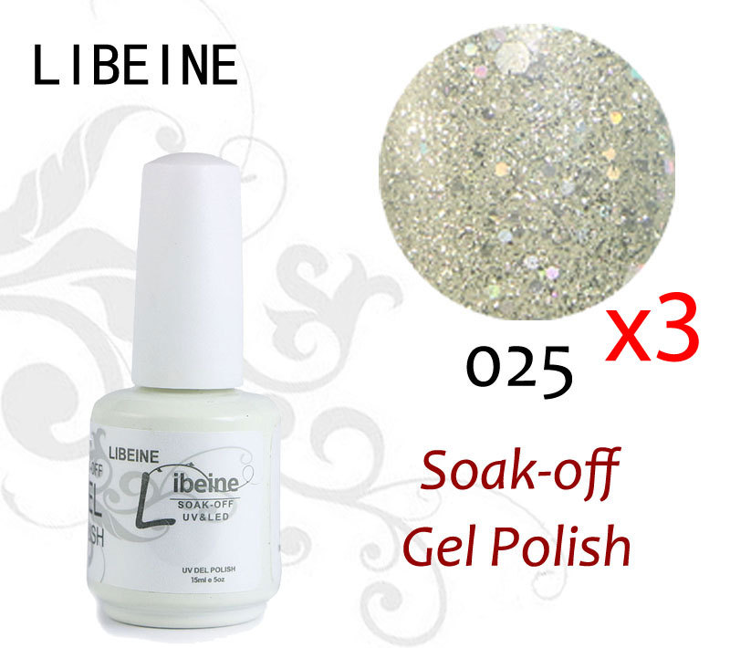 101 Colors Available 3 PCs Soak Off UV LED Nail Gel Polish LIBEINE The Best Gel Polish 025 Sparkle Silvery White 2015 Drop ship(China (Mainland))