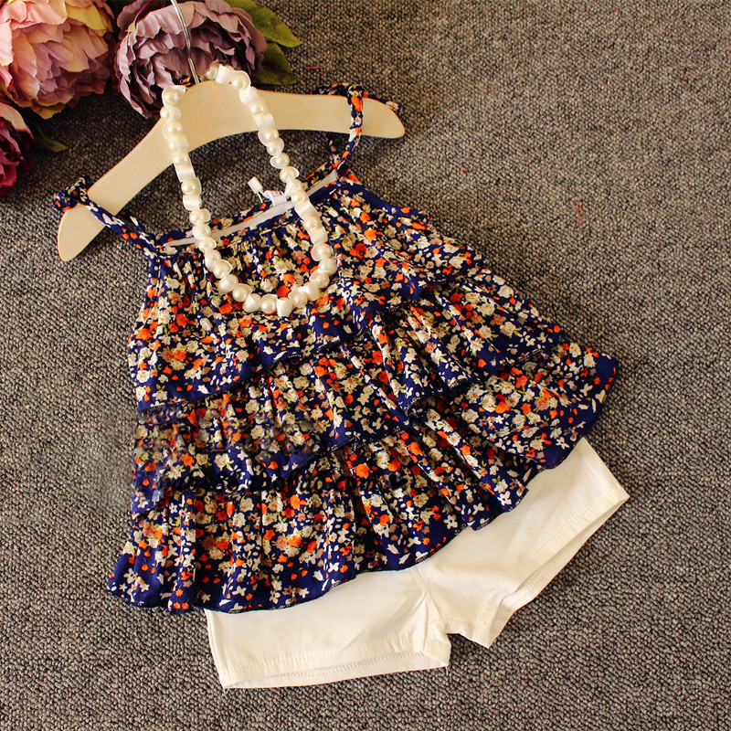 Hot sell Baby girls floral printed suspender set Floral vest+white shorts 2 pcs girls casual summer beach set 2-7 Ys(China (Mainland))