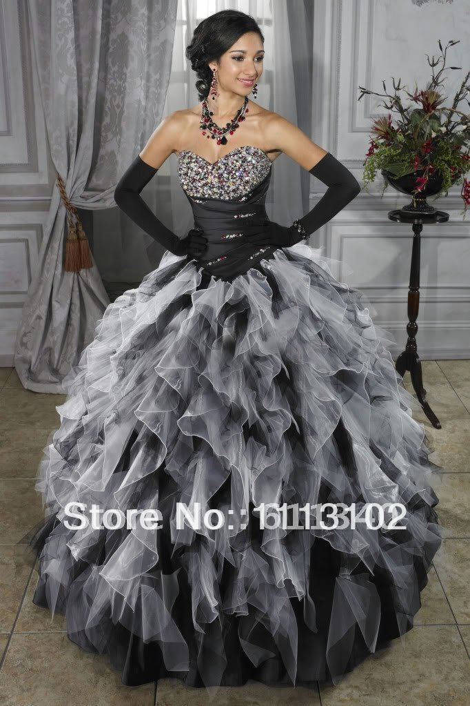 Strapless Sweetheart Ball Gown Black And White Purple