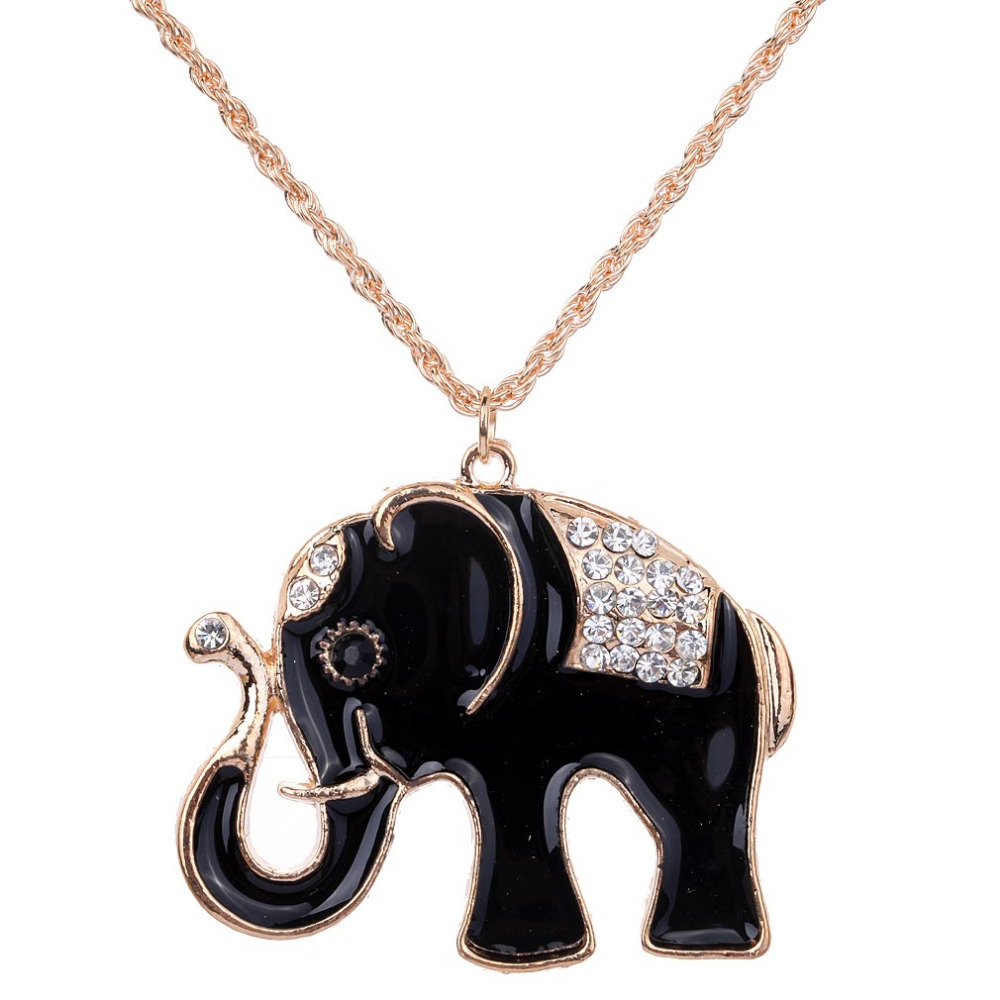New Arrival Black Elephant White Rhinestone Inlay Pendant Necklace Women Gold Long Sweater Chain Jewelry Gift(China (Mainland))
