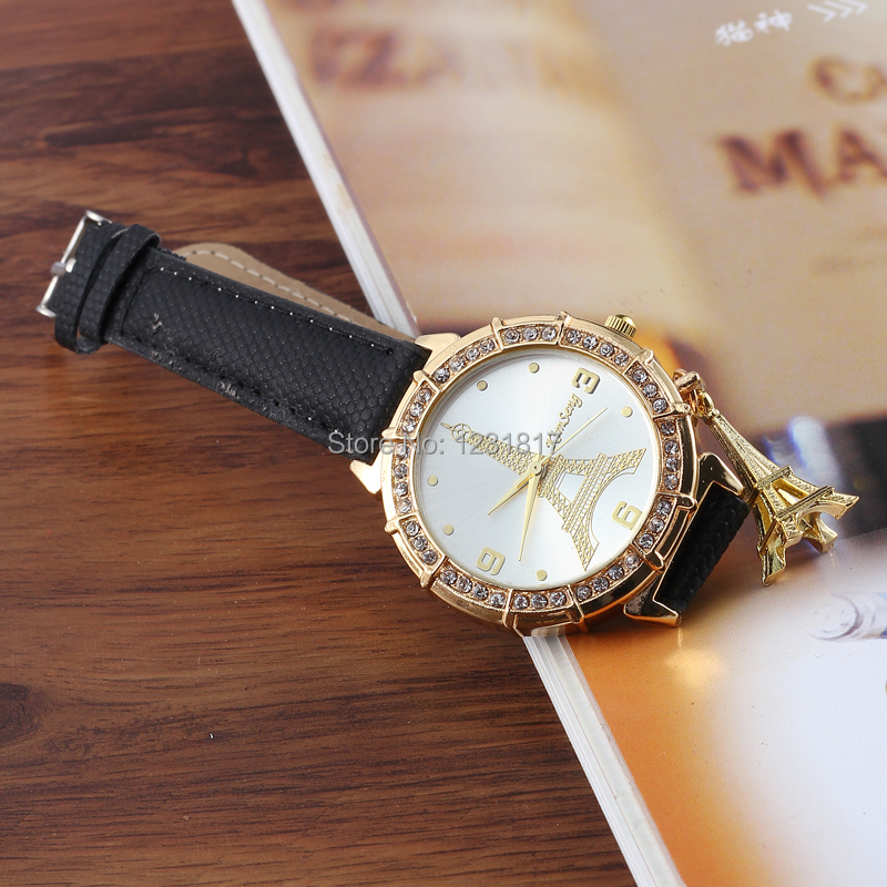 New Cheap Torre Eiffel Women Leather Diamond Relogio Feminino Fashion Ladies Rhinestone Montre Femme Reloj Mujer AD Watch Black(China (Mainland))