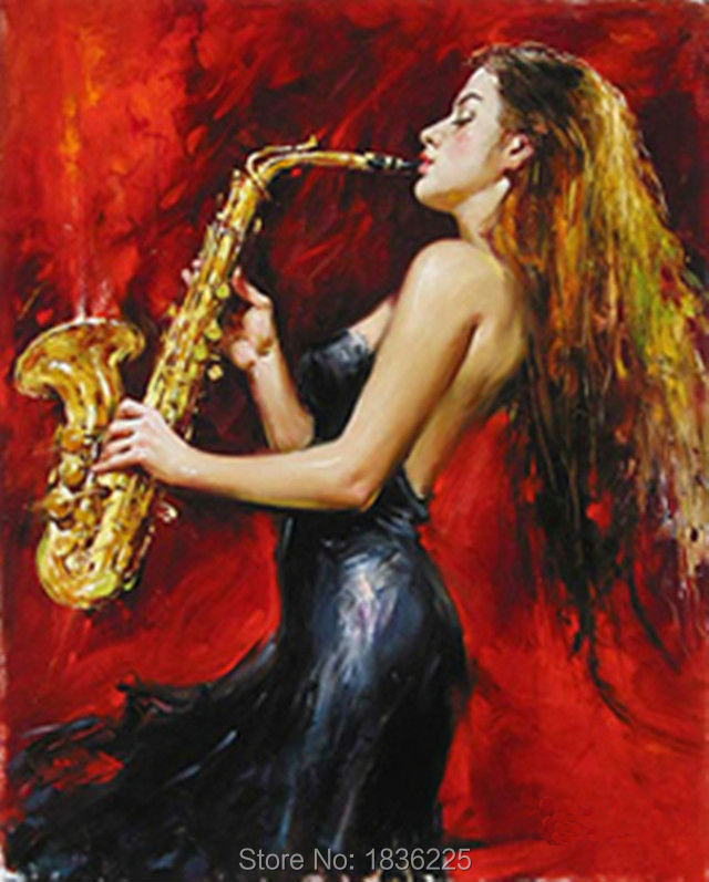 Gift 100% Handpainted beautiful girl musical instrument Oil Painting On Canvas Wall Art Pictures Home hotel Decorativ(China (Mainland))
