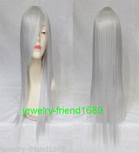 Wholesale& heat resistant LY free shipping>>>New wig Cosplay Silver White Long Straight With Bangs Women Wig