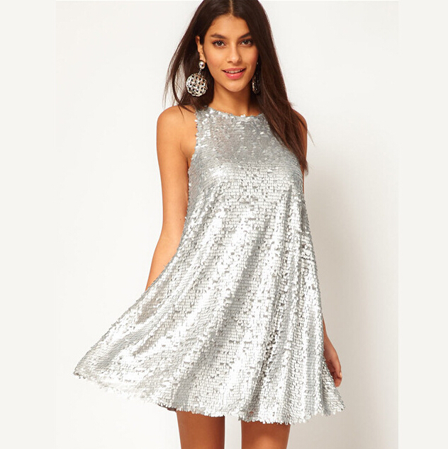 Shiny Silver Sequin Dresses Sleeveless Short Silver Glitter Cute Dress Luxury Women Paillette Dress for Party Evening(China (Mainland))