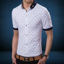 Men's short sleeve shirt printed men's wear white shirts with short sleeves in summer big yards