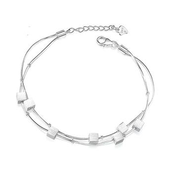 Silver Plated Refinement Simplicity Tassel Bracelets  Birthday Gifts For Women Wrist Charm Bracelets