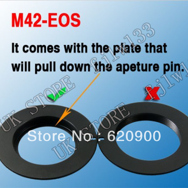 100% GUARANTEE 50 pcs High Quality M42 Lens Adapter Ring to FOR Canon with plate FOR EOS DSLR 7D 50D 500D 650D 600D 550D 450D<br><br>Aliexpress