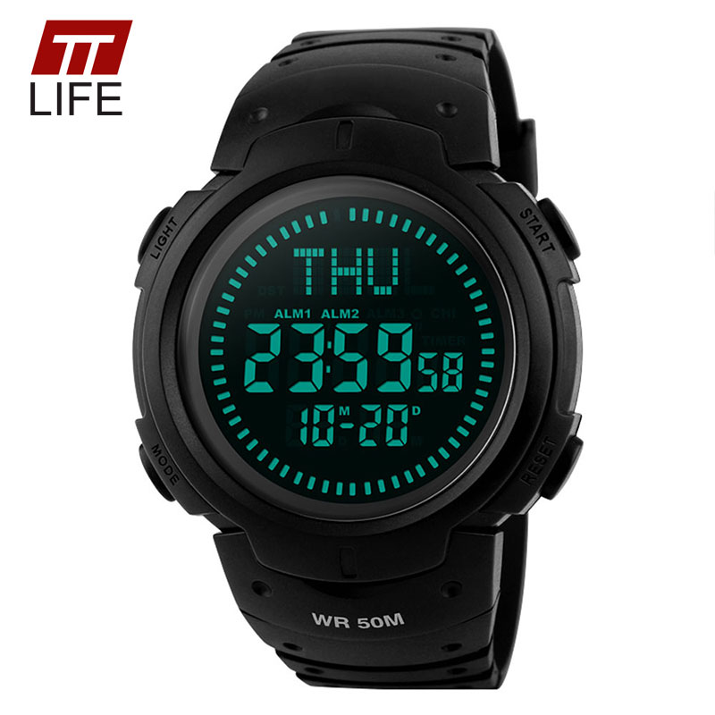 TTLIFE Compass Watch Men Outdoor Sports Climbing EL Backlight Digital 50M Water Resistant Wrist Watches Alarm for Men VS ts02(China (Mainland))