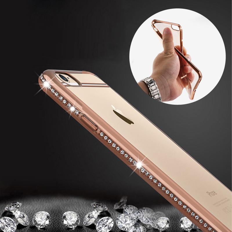 Luxury Rhinestone Frame Case For iphone 6 6s 6 plus 5 5S SE Ultra Thin Clear Soft TPU Crystal Diamond Cover For iphone 6 6S Plus(China (Mainland))