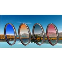52 58 62 67 72 77 mm Gradual ND Grey lens color filter for Sony Nikon Canon EOS 7D 50D 60D 600D T4i 18-135mm X