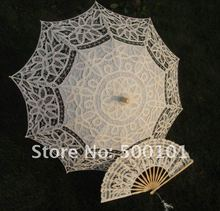 4set/lot  30'' ivory  SUN BATTEN LACE PARASOL UMBRELLA + FAN WEDDING Factory Price  Freeshipping(China (Mainland))