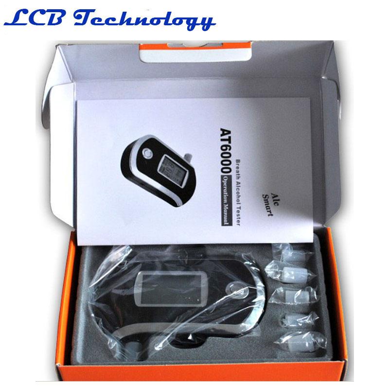 AT-6000 Wholesale - Professional Portable Breath Alcohol Tester LCD Digital Breathalyzer Alcohol Tester AT-6000 original box(China (Mainland))