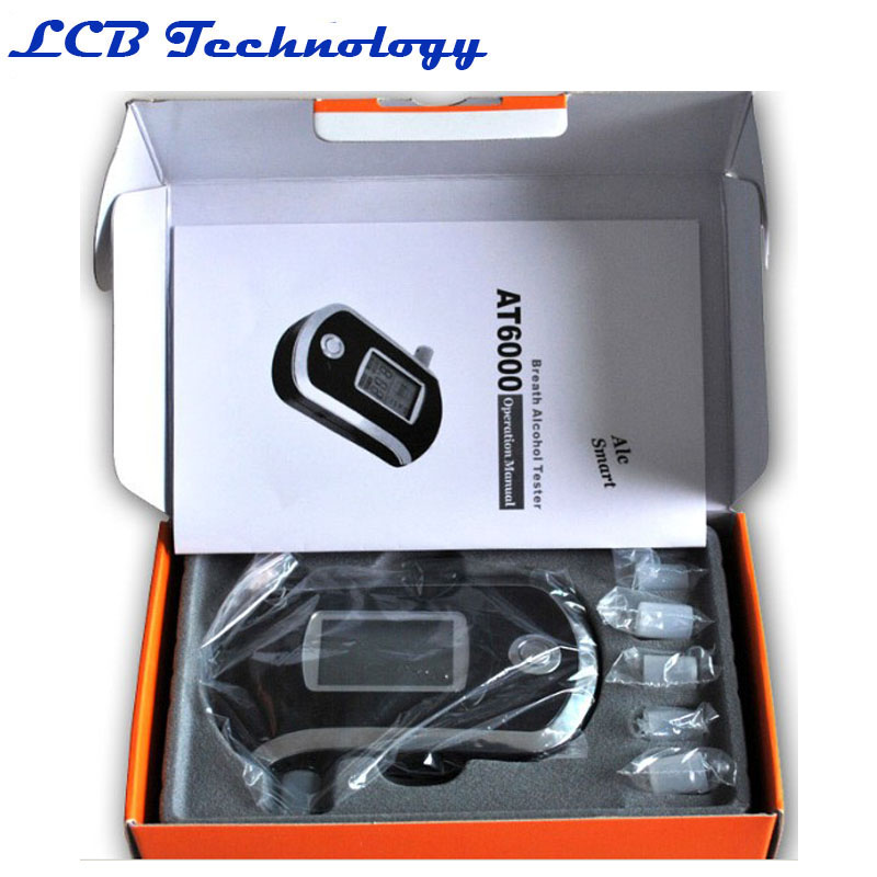 AT-6000 Wholesale - Professional Portable Breath Alcohol Tester LCD Digital Breathalyzer Alcohol Tester AT-6000 original box(China (Mainland))