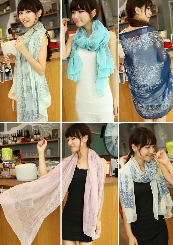 2015 Hot Sale Fashion Women Elegant Retro Blue and White Chiffon Scarf Print Silk(China (Mainland))