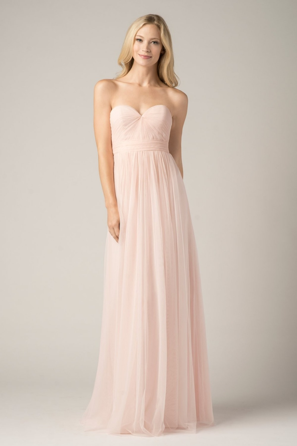 pink tulle floor-length five styles a-line long bridesmaid dress 2015 new hot sale vestido de festa(China (Mainland))