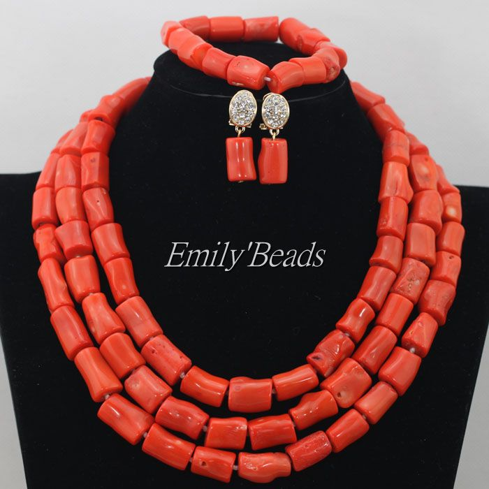 Marvelous Orange African Coral Beads Jewelry Set Nigerian Wedding African Beads Necklace Set 2015 New Free Shipping CJ461<br><br>Aliexpress