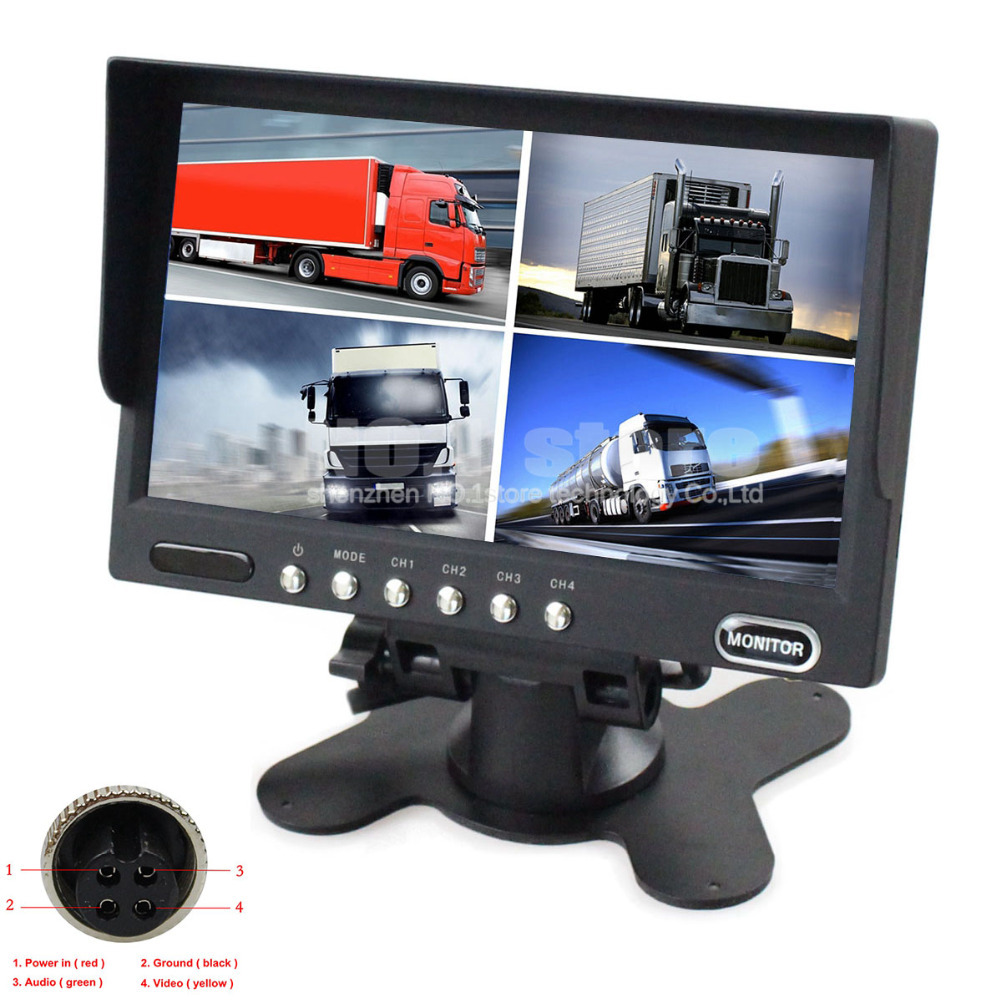 4 x 4-PIN Port 7 Inch 4 Split Quad LCD Screen Display Color Rear View Monitor For Monitor System(China (Mainland))