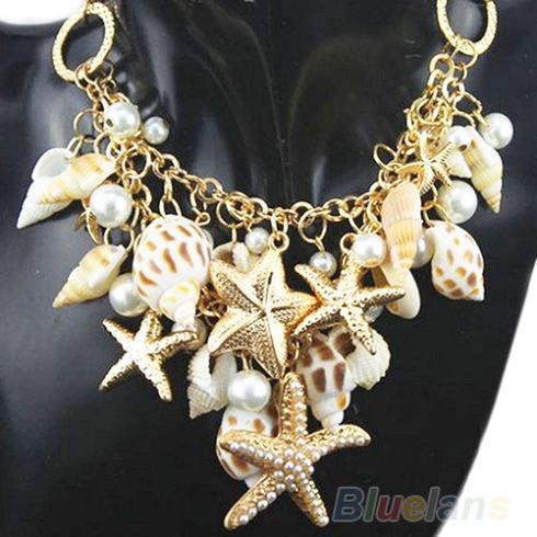 New Hot Hot Gold Tone Sea Shell Starfish Faux Pearl Bib Statement Necklace 1CZK(China (Mainland))