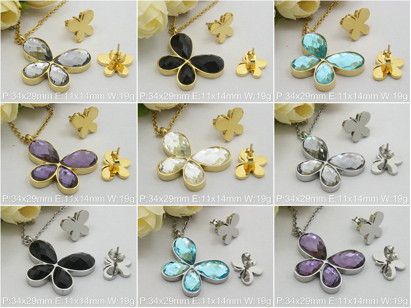 Accessories Wholesale Fashion Stainless Steel Jewelry Sets Flowers Necklace+Pendants + Earrings Supernove Sales(China (Mainland))