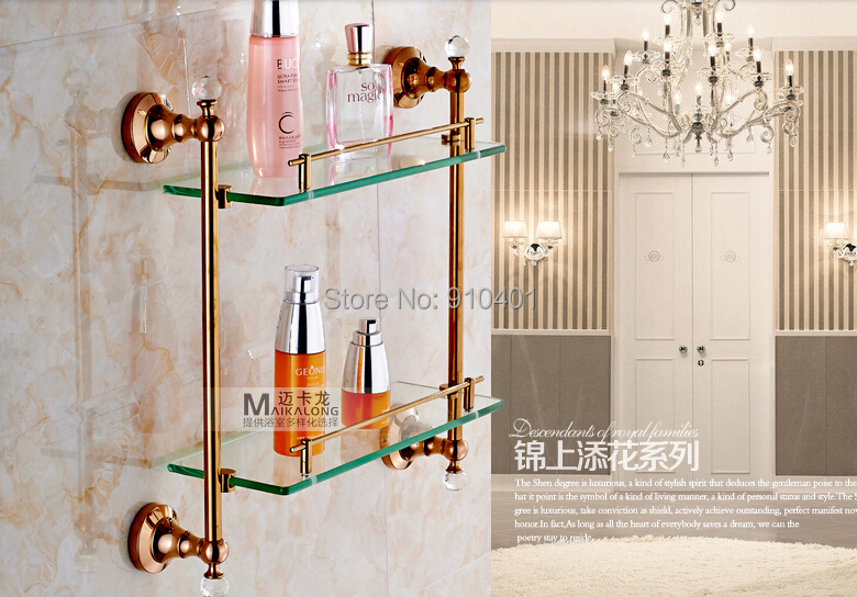 Hot Sale Wholesale And Retail Promotion Modern Rose Golden Brass Bathroom Shelf Dual Tiers Caddy Storage Crystal Hangers(China (Mainland))