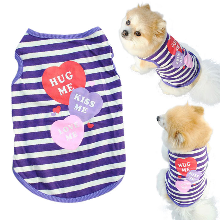 Hot Marketing Fashion Pet Puppy Summer Shirt Small Dog Cat Pet Clothes Stripe Vest T Shirt June23(China (Mainland))