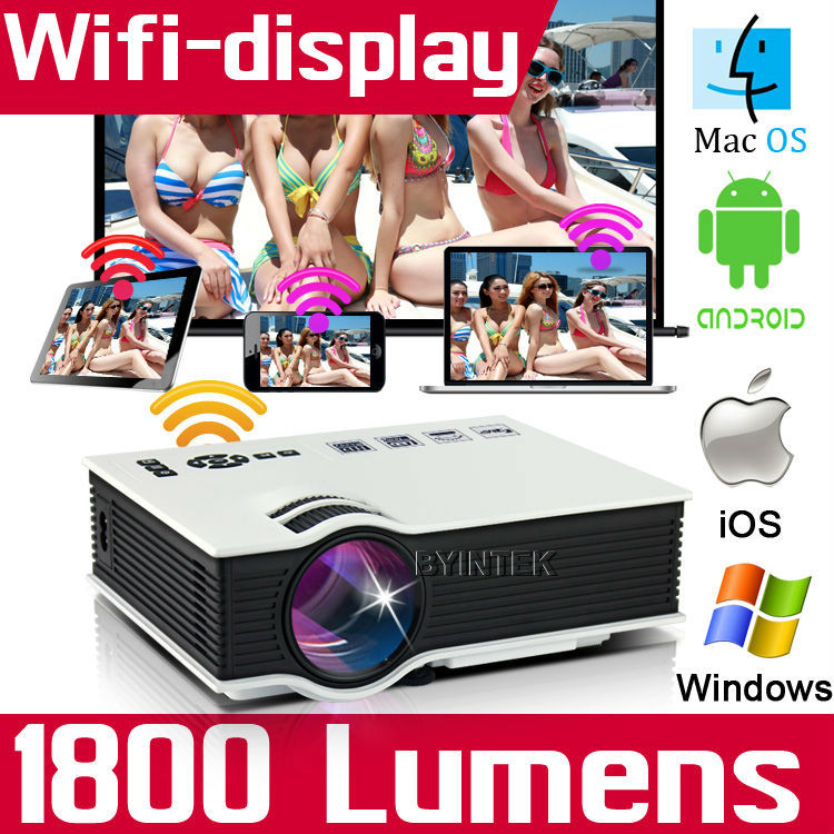 Проектор 1800lumens HDMI USB VGA HD 1080P /wifi 3D LED 400 проектор k mic led wifi 1080p 3d