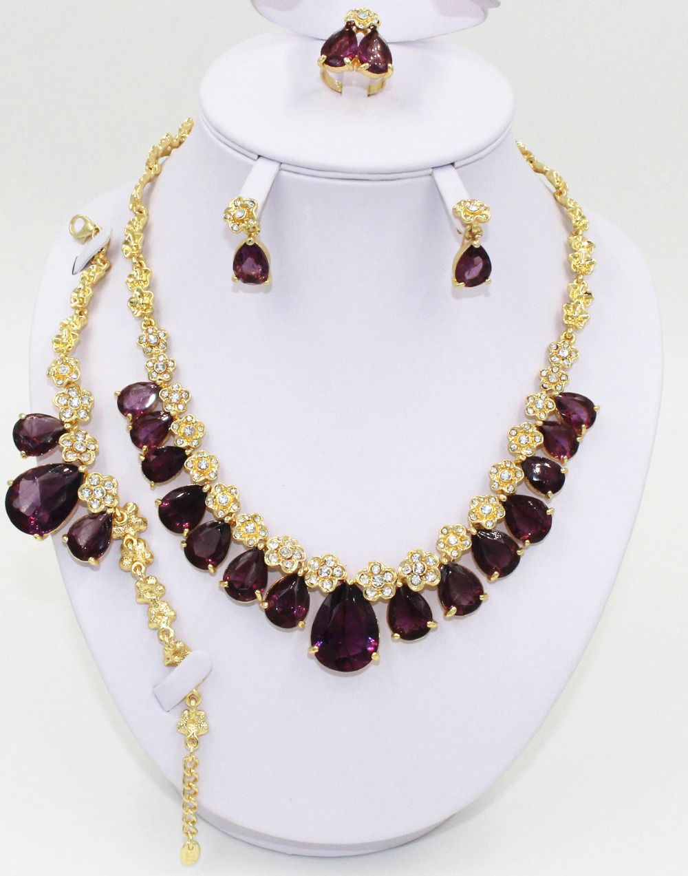 African wedding dress gold plated jewelry set high for Bracelet for wedding dress
