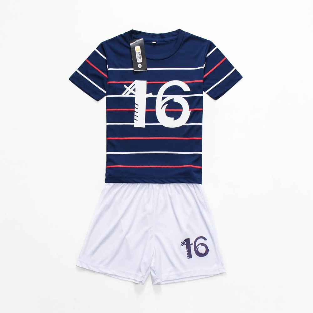 Children's sport suit 2016 breathable 2-14years striped casual clothing cartoon mascot summer kid/youth football jersey set(China (Mainland))