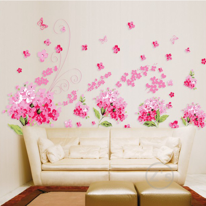 Television flowers cherry blossom wall sticker home decor - Bande adhesive murale ...