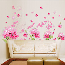 Television flowers cherry blossom wall sticker home decor diy adhesive art mural picture poster removable vinyl wallpaper ay957