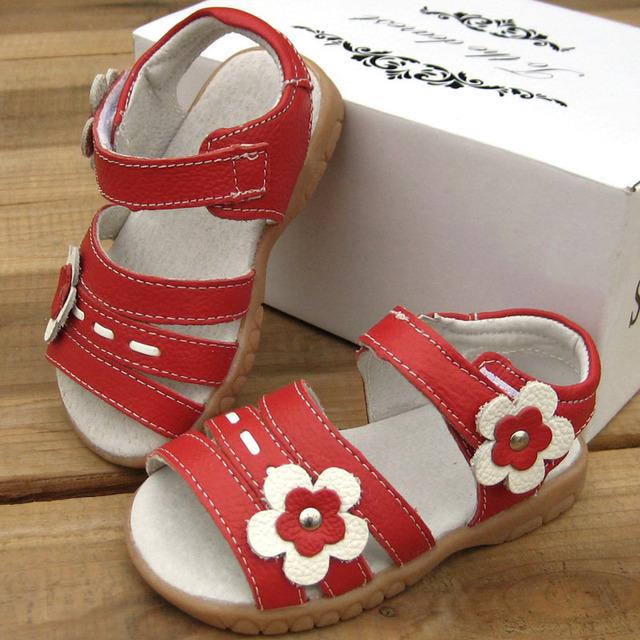 Натуральная кожа девушки сандалии детских летних обуви детей реальные кожаные сандалии ...