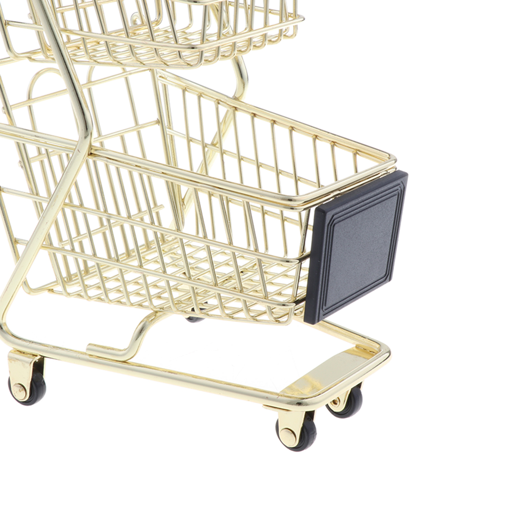 Mini Shopping Cart with Sturdy Metal Frame, Pen/ Pencil/ Cards Holder Desk Storage Toy