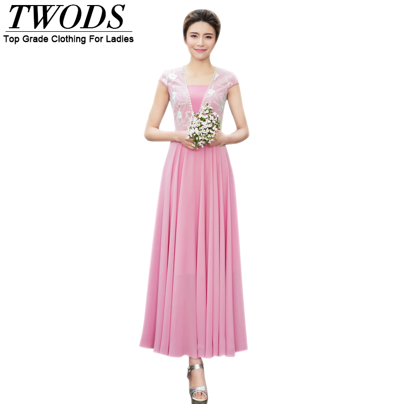 Twods Elegant Chiffon Women Long Dress Mesh Patch V-neck Slim Cut Party Dresses Plus Size Clothing Muslim Maxi Robe Longue Femme