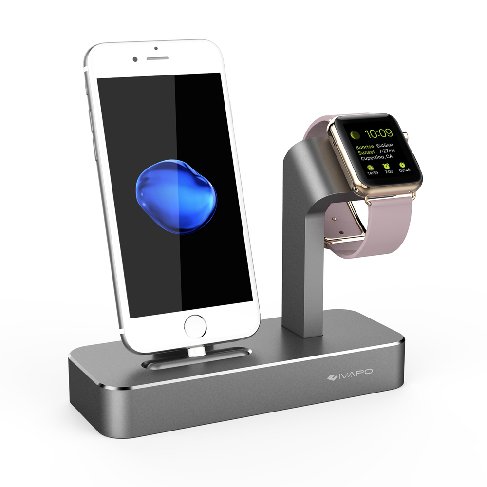 Ivapo 2 In 1 Charging Dock For Apple Watch Stand Solid