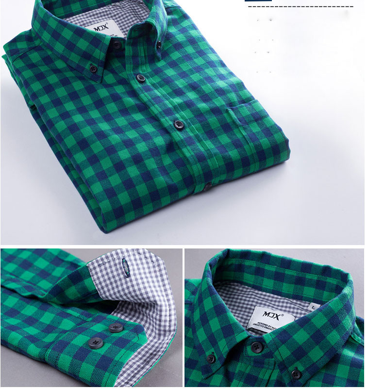 Mens Plaid Shirt Vintage Check Long Sleeve Shirt Slim Fit Casual Shirts For Men High Quality T-shirt Free Shipping 15 Colors