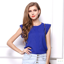 Womens Blouses Chiffon Clothing Summer Lady Blouse/Shirt S-XL Sale New 2014 Fashion Ruffle Short Sleeve 4 Colors Tops OL Blouse