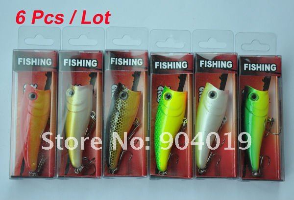 6pcs New Diving Fishing Hard Lure Baits Popper 8g 6cm