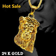 Bling Big and Heavy 24K Gold Plated Jesus Necklace Hip pop Jesus Pendant+75 Chain Free shipping 2014 Woman&Men Jewelry