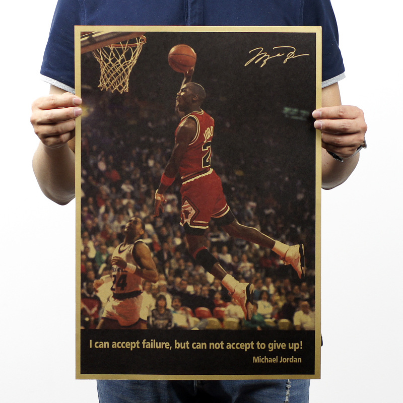 Jordan nba jersey Kraft paper classic Poster Living Room Never give up posters Home Decoration for home/Bar/Cafe/Pub ACLHB028(China (Mainland))