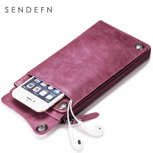 SENDEFN Wallet New Fashion Wallet Women Genuine Leather Wallet Brand Women Purse Long Purse Coin Purse Money Bag For iPhone7S(China (Mainland))
